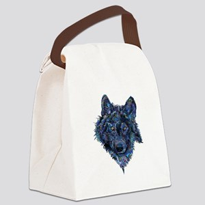 Wild Blue Wolf Canvas Lunch Bag