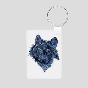 Wild Blue Wolf Aluminum Photo Keychain