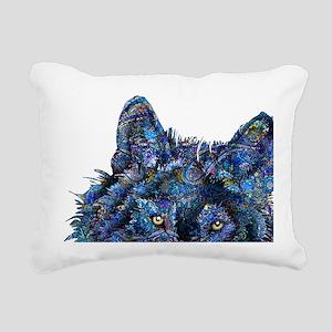 Wild Blue Wolf Rectangular Canvas Pillow