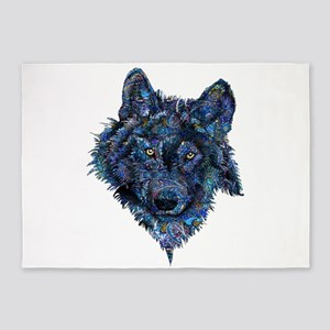 Wild Blue Wolf 5'x7'Area Rug