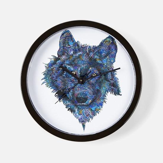 Wild Blue Wolf Wall Clock