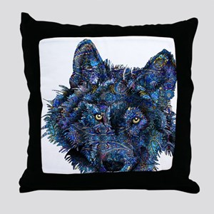 Wild Blue Wolf Throw Pillow