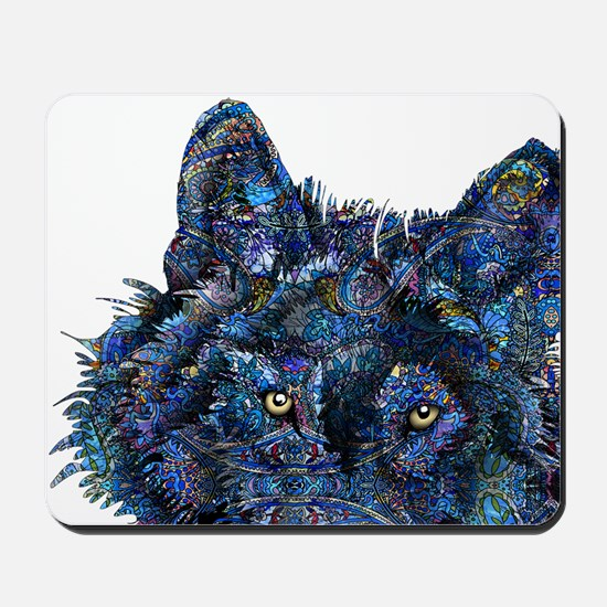 Wild Blue Wolf Mousepad