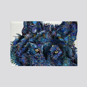 Wild Blue Wolf Rectangle Magnet