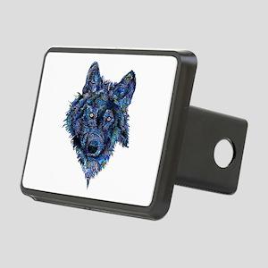Wild Blue Wolf Rectangular Hitch Cover