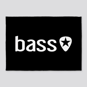 Bass Guitarist: Bass, Pick & Black 5'x7'Area Rug