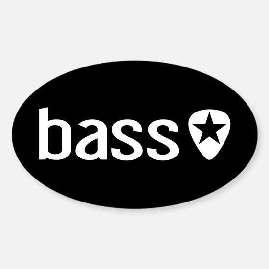 Bass Guitarist: Bass, Pick & Black Sticker (Oval)