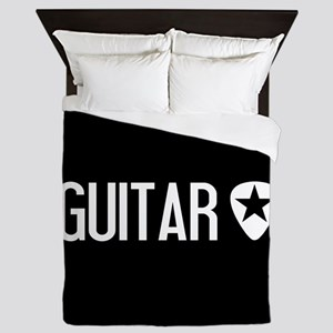 Guitarist: Guitar Pick & Black Star Queen Duvet