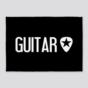 Guitarist: Guitar Pick & Black Star 5'x7'Area Rug
