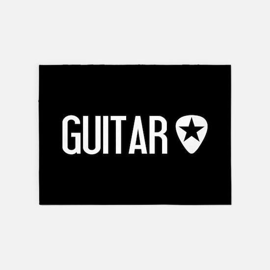 Guitarist: Guitar Pick & Black Star 5'x7'Area Rug