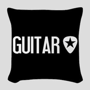 Guitarist: Guitar Pick & Black Woven Throw Pillow