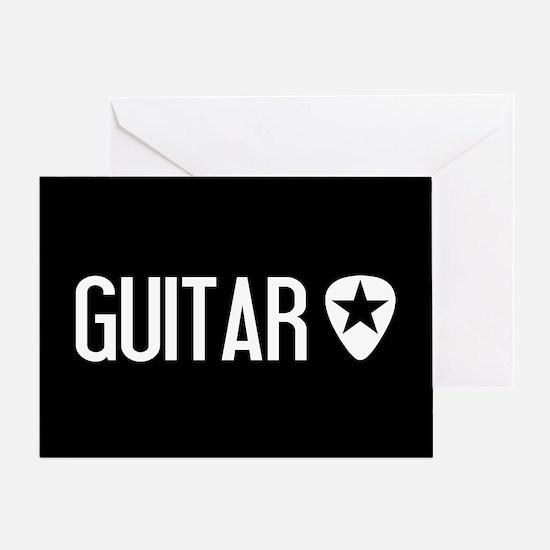 Guitarist: Guitar Pick & Black Star Greeting Card