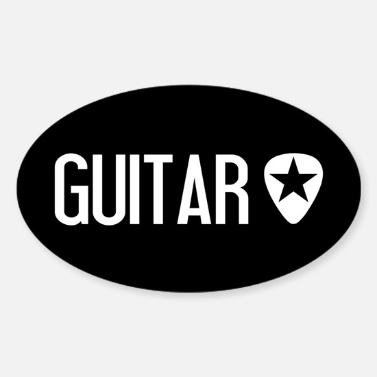 Guitarist: Guitar Pick & Black Star Sticker (Oval)