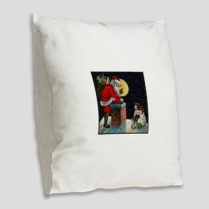 Waiting for Santa Burlap Throw Pillow