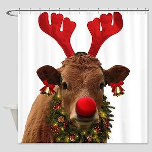 Christmas Cow Shower Curtain