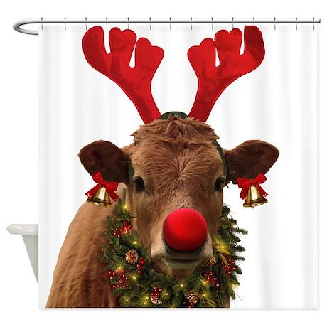 Christmas Cow Shower Curtain By RuralAid