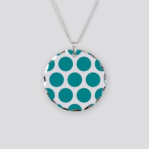 Blue, Teal: Polka Dots Patte Necklace Circle Charm
