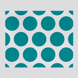 Blue, Teal: Polka Dots Pattern (Larg Throw Blanket