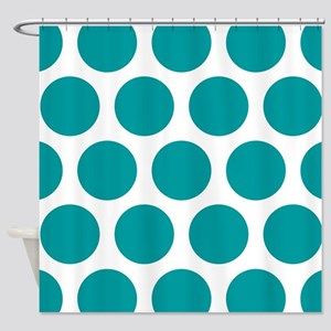 Blue, Teal: Polka Dots Pattern (Lar Shower Curtain