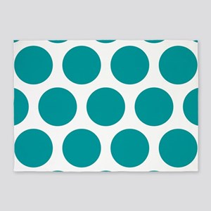 Blue, Teal: Polka Dots Pattern (Lar 5'x7'Area Rug