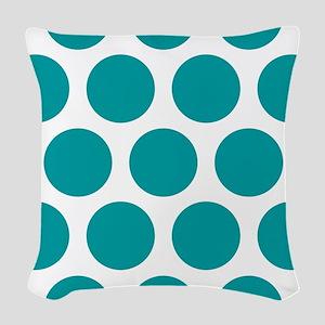 Blue, Teal: Polka Dots Pattern Woven Throw Pillow