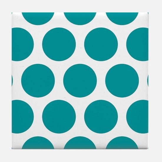 Blue, Teal: Polka Dots Pattern (Large Tile Coaster