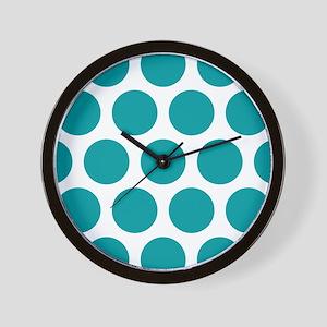 Blue, Teal: Polka Dots Pattern (Large) Wall Clock