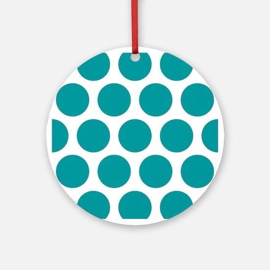 Blue, Teal: Polka Dots Pattern (Lar Round Ornament