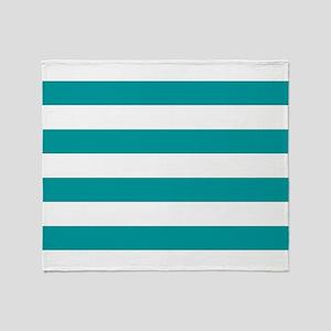 Blue, Teal: Stripes Pattern (Horizon Throw Blanket