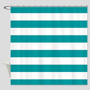 Blue, Teal: Stripes Pattern (Horizo Shower Curtain