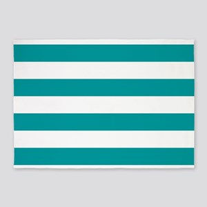 Blue, Teal: Stripes Pattern (Horizo 5'x7'Area Rug