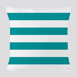 Blue, Teal: Stripes Pattern (H Woven Throw Pillow