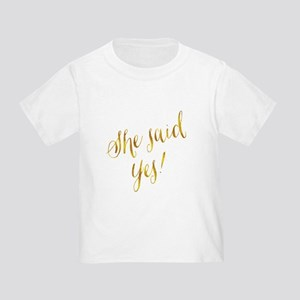She Said Yes Gold Faux Foil Metallic Glitt T-Shirt