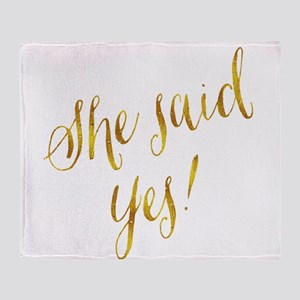 She Said Yes Gold Faux Foil Metallic Throw Blanket