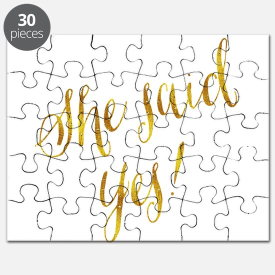 She Said Yes Gold Faux Foil Metallic Glitte Puzzle