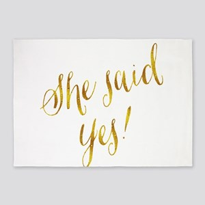 She Said Yes Gold Faux Foil Metalli 5'x7'Area Rug