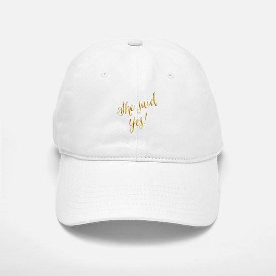She Said Yes Gold Faux Foil Metallic Glitter Q Baseball Baseball Cap