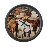 A Herd of Cattle Large Wall Clock