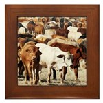 A Herd of Cattle Framed Tile