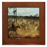 Herding Cattle Framed Tile