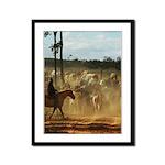 Herding Cattle Framed Panel Print