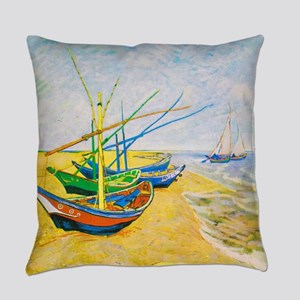 Fishing Boats on the Beach at Sain Everyday Pillow