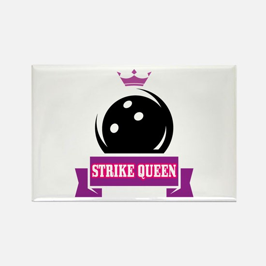 Bowling Strike Queen Rectangle Magnet