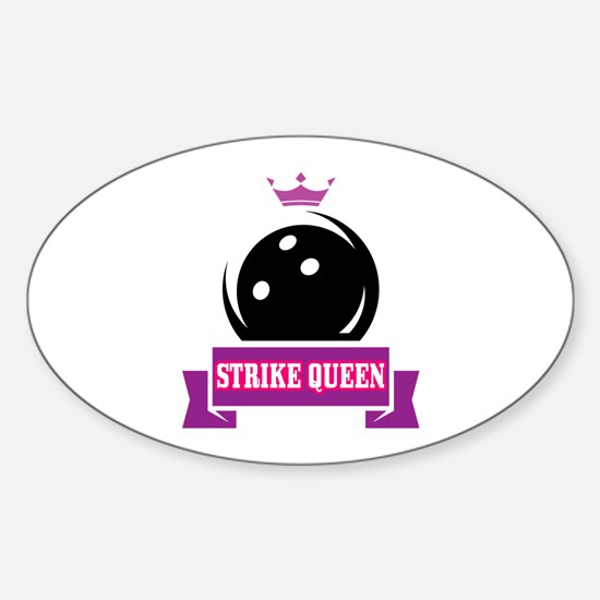 Bowling Strike Queen Sticker (Oval)