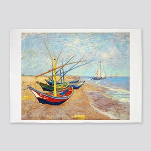 Fishing Boats on the Bea 5'x7'Area Rug