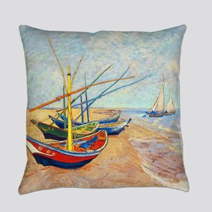 Fishing Boats on the Bea Everyday Pillow