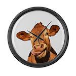 Selfie Cow (Transparent) Large Wall Clock