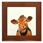Selfie Cow (Transparent) Framed Tile