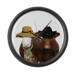 Country Couple Large Wall Clock