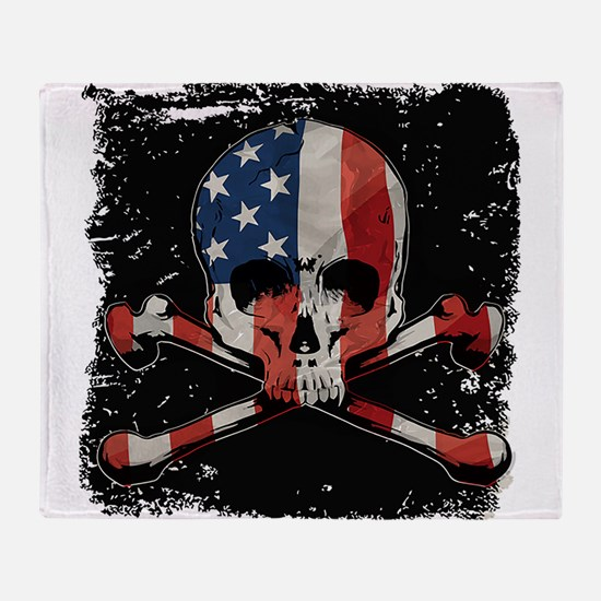 Skull with American Flag Throw Blanket